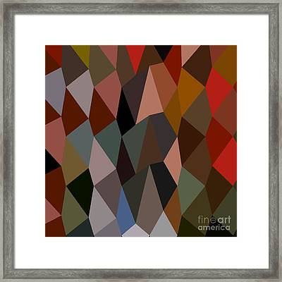 Burnt Umber Abstract Low Polygon Background Framed Print by Aloysius Patrimonio