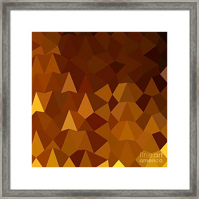 Burnt Umber Brown Abstract Low Polygon Background Framed Print by Aloysius Patrimonio