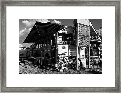 Burrito Bus Bw Framed Print by Mel Steinhauer