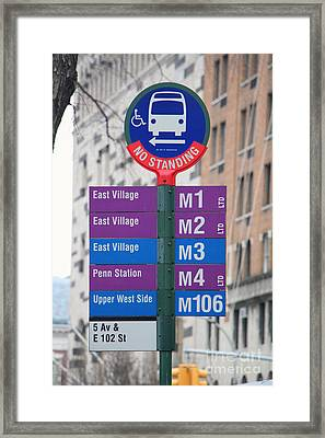 Bus Stop Sign In New York City Framed Print by Nishanth Gopinathan