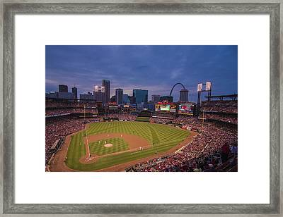 Busch Stadium St. Louis Cardinals Ball Park Village Twilight #3c Framed Print by David Haskett