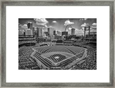 Busch Stadium St. Louis Cardinals Black White Ballpark Village Framed Print by David Haskett