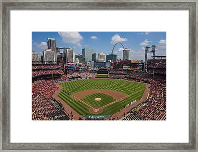 Busch Stadium T. Louis Cardinals Ball Park Village National Anthem #3a Framed Print by David Haskett