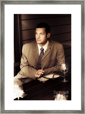Business Man At Corporate Function Framed Print by Jorgo Photography - Wall Art Gallery