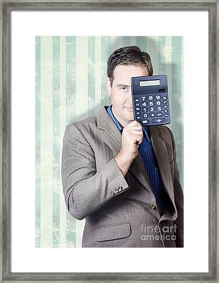Business Person Hiding Behind Cash Calculator Framed Print by Jorgo Photography - Wall Art Gallery