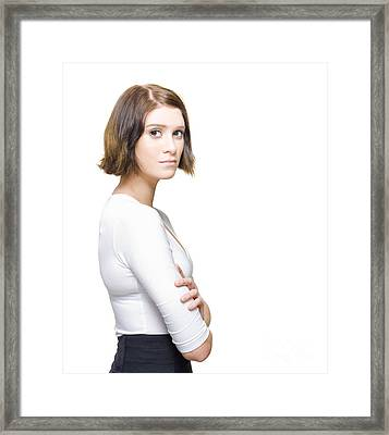 Business Woman Needing Directions For Career Development Framed Print by Jorgo Photography - Wall Art Gallery