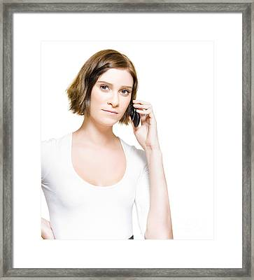 Business Woman On Mobile Phone Studio Portrait Framed Print by Jorgo Photography - Wall Art Gallery