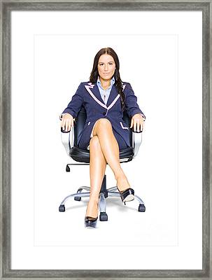 Business Woman On Office Chair At Job Interview Framed Print by Jorgo Photography - Wall Art Gallery