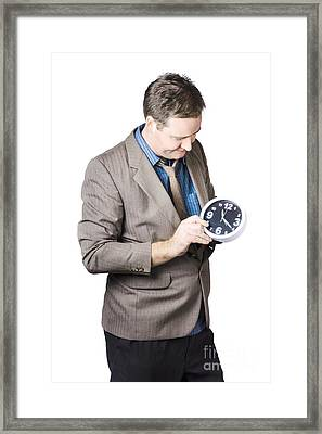 Businessman Adjusting Time Framed Print by Jorgo Photography - Wall Art Gallery
