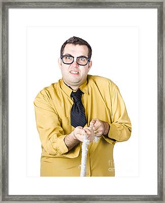 Businessman In Power Struggle Framed Print by Jorgo Photography - Wall Art Gallery