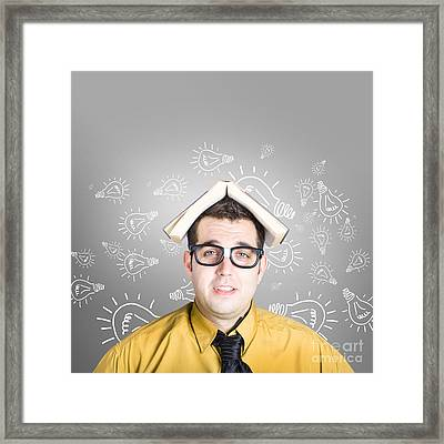 Businessman With New Education Idea Framed Print by Jorgo Photography - Wall Art Gallery