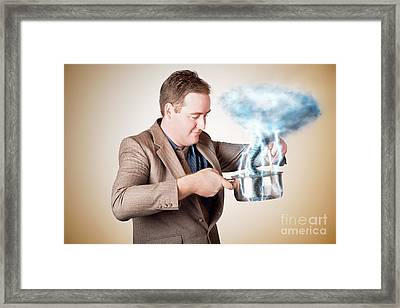 Businessman With Plan Cooking Up Strategic Storm Framed Print by Jorgo Photography - Wall Art Gallery