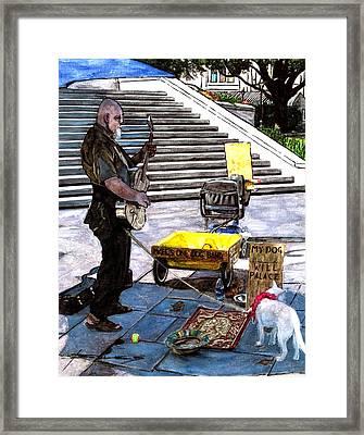 Busker With Dog Framed Print by John Boles
