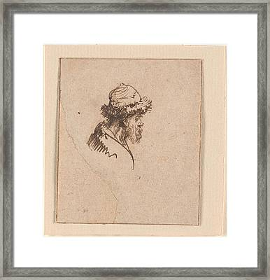 Bust Of A Bearded Man In A Round  Framed Print by MotionAge Designs