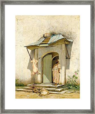 Butcher Outside A Doorway Framed Print by Eastern Accent