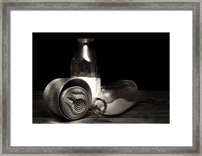 Butter Mold And Milk Bottles Framed Print by Tom Mc Nemar