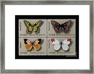 Butterflies Postage Stamp Print Framed Print by Andy Prendy
