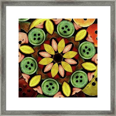 Buttons Abstract Framed Print by Bonnie Bruno