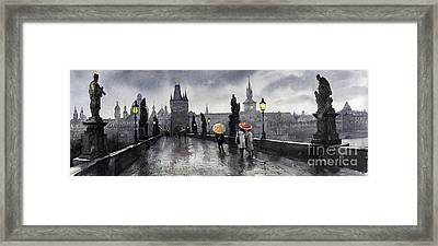 Bw Prague Charles Bridge 05 Framed Print by Yuriy  Shevchuk