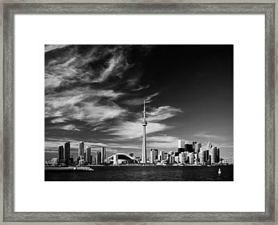 Bw Skyline Of Toronto Framed Print by Andriy Zolotoiy