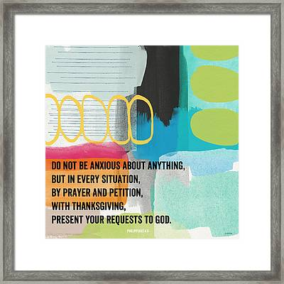 By Prayer And Petition- Contemporary Christian Art By Linda Wood Framed Print by Linda Woods
