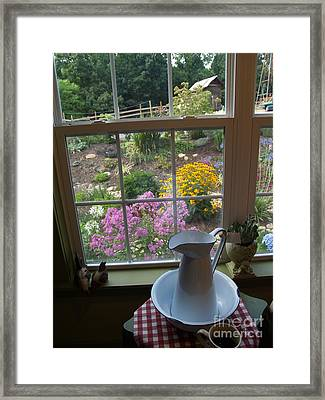 By The Garden Window In North Carolina Framed Print by Anna Lisa Yoder
