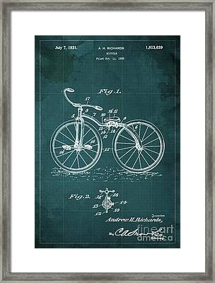 Bycicle Patent Blueprint Year 1930 Green Vintage Poster Framed Print by Pablo Franchi