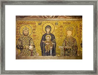 Byzantine Mosaic In Hagia Sophia Framed Print by Artur Bogacki