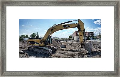 C A T Backhoe And D 9 Dozer Framed Print by Daniel Hagerman