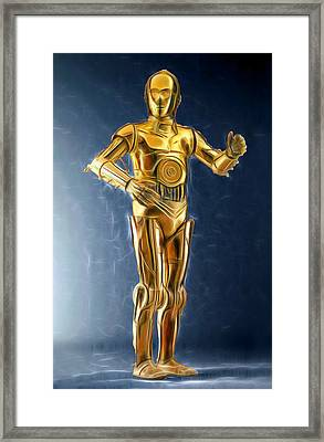 C3po Good In Gold Framed Print by Scott Campbell