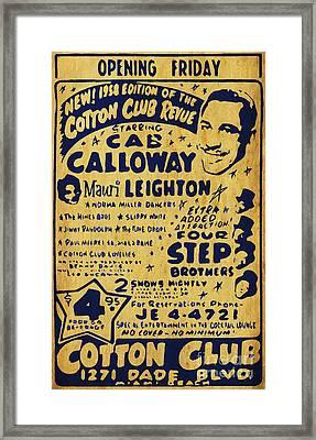 Cab Calloway Antique Vintage Flyer Framed Print by Pablo Franchi