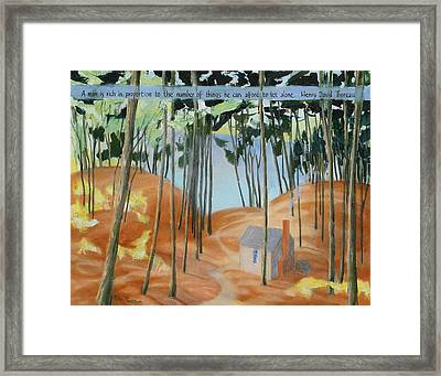 Cabin At Walden Pond Framed Print by Michael Cunliffe Thompson