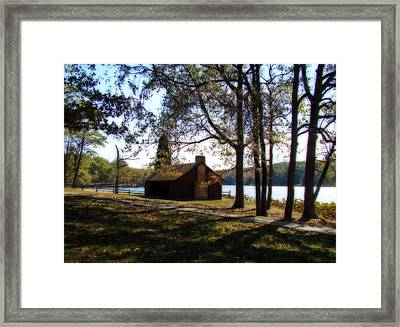 Cabin By The Lake Framed Print by Sandy Keeton