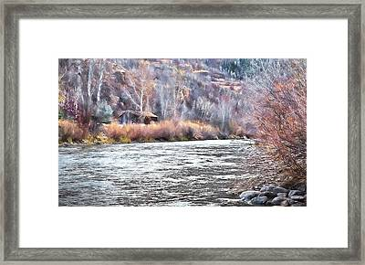 Cabin By The River In Steamboat,co Framed Print by James Steele