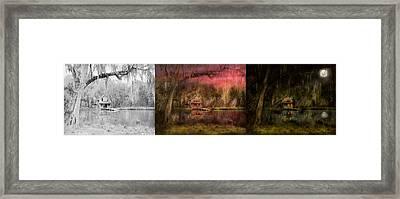 Cabin - De Land Fl - Restless Night - Summer Cottage 1904 - Side By Side Framed Print by Mike Savad