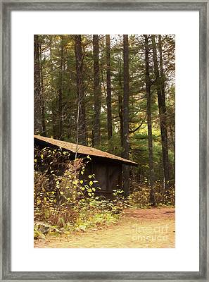 Cabin In The Pines Framed Print by Donna Crider