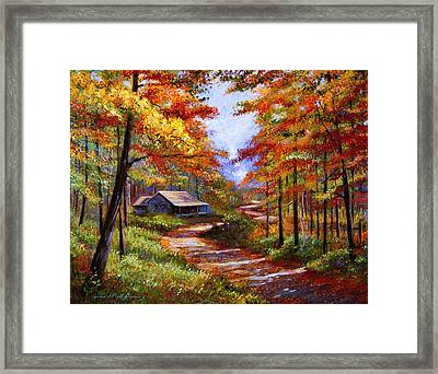 Cabin In The Woods Framed Print by David Lloyd Glover