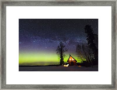 Cabins Glow Framed Print by Ed Boudreau