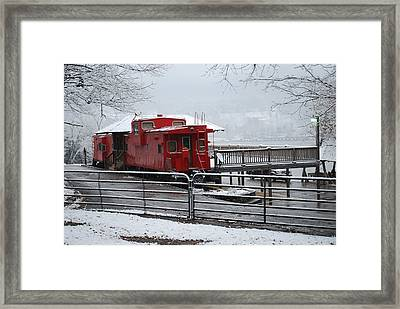 Caboose In Snow Framed Print by Eric Armstrong