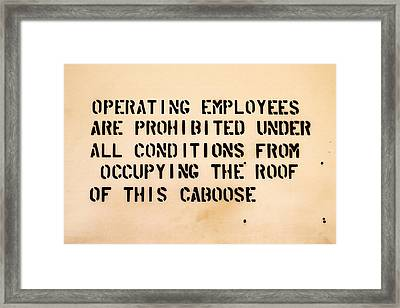 Caboose Sign Framed Print by Art Block Collections