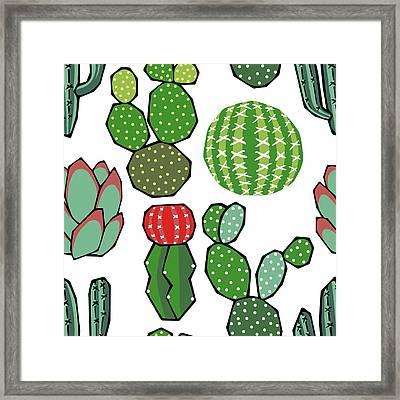 Cacti Framed Print by Kelly Jade King
