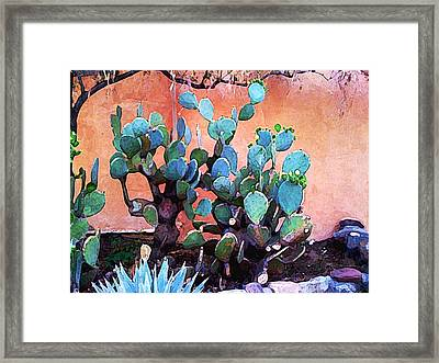 Cactus And Adobe Framed Print by Charlie Spear