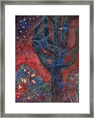 Cactus At Night In The Dark Yet Bright Framed Print by Anne-Elizabeth Whiteway