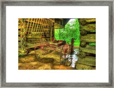 Cades Cove Carriage At Cantilever Barn Framed Print by Reid Callaway
