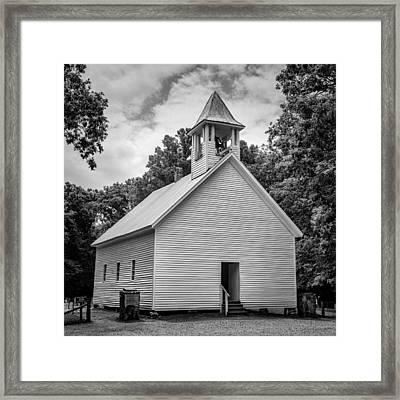 Cades Cove Primitive Baptist Church - Bw 1 Framed Print by Stephen Stookey