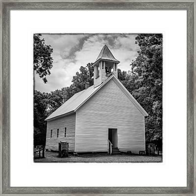 Cades Cove Primitive Baptist Church - Bw W Border Framed Print by Stephen Stookey