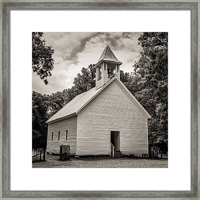 Cades Cove Primitive Baptist Church - Toned Bw Framed Print by Stephen Stookey