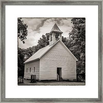 Cades Cove Primitive Baptist Church - Toned Bw W Border Framed Print by Stephen Stookey