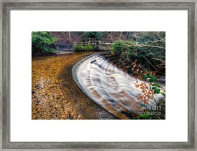 Caeau Weir Framed Print by Adrian Evans