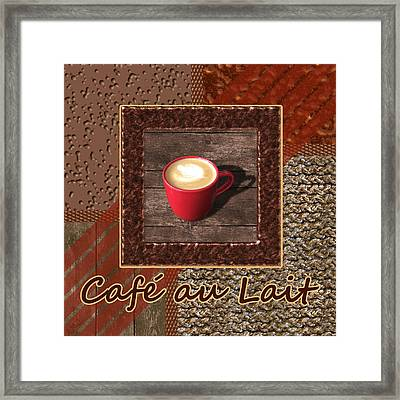Cafe Au Lait - Coffee Art - Red Framed Print by Anastasiya Malakhova